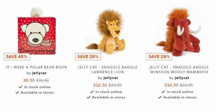 JellyCat 可爱长耳朵兔子毛绒公仔 7折 13.5加元起特卖!
