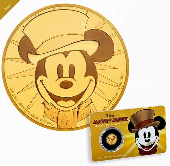 新品发售!Disney 迪士尼 Mickey Mouse Through the Ages 米奇的欢乐圣诞 纯金纪念币(0.5克) 104.95加元包邮!