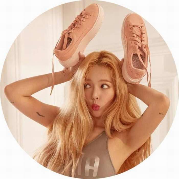 韩国性感女歌手 HyunA代言 Puma Platform Trace麂皮防水厚底鞋 !