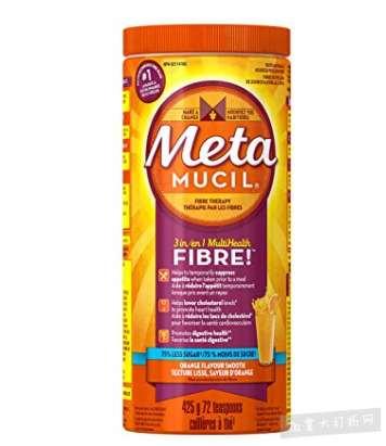 无糖零脂肪清肠排毒!Metamucil 吸油纤维素膳食纤维粉香橙味 12.12加元,原价 15.99加元