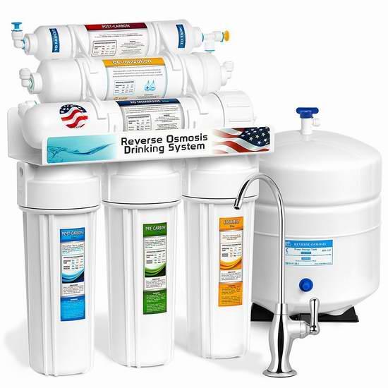 近史低价!Express Water RODI10D 6级反渗透 电离软化水 饮用水过滤系统6折 186.59加元包邮!