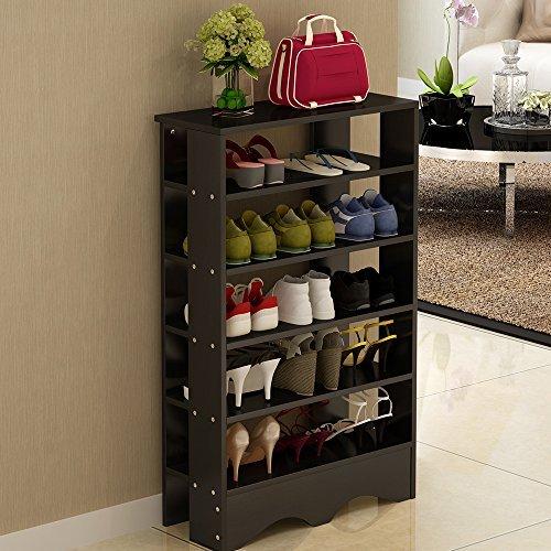 历史新低!Soges L15-B-CA 5层式黑色木质鞋架 49加元包邮!