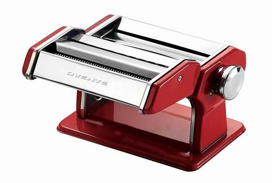 历史最低价!Ovente PA518R 红色复古不锈钢手动面条机6.6折 53.85加元包邮!