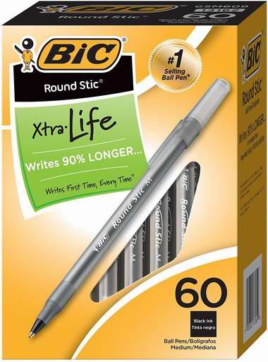 BIC 黑色中号原子笔60只超值装 8.56加元!