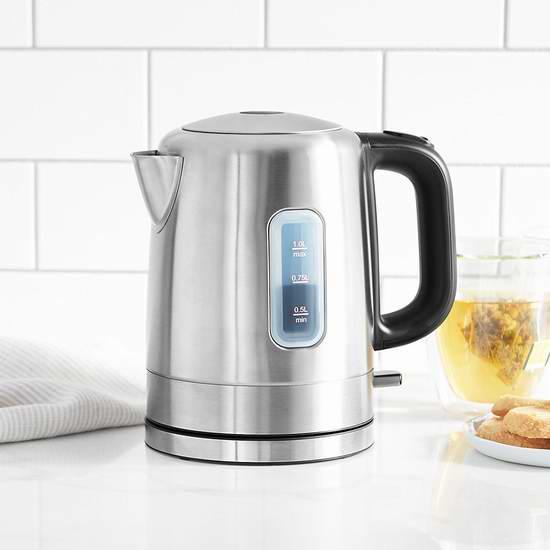 历史新低!AmazonBasics 1升 不锈钢电热水壶6折 22.99加元!