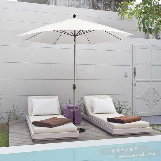历史新低!California Umbrella 9英尺可倾斜庭院遮阳伞2.2折 35.72加元包邮!