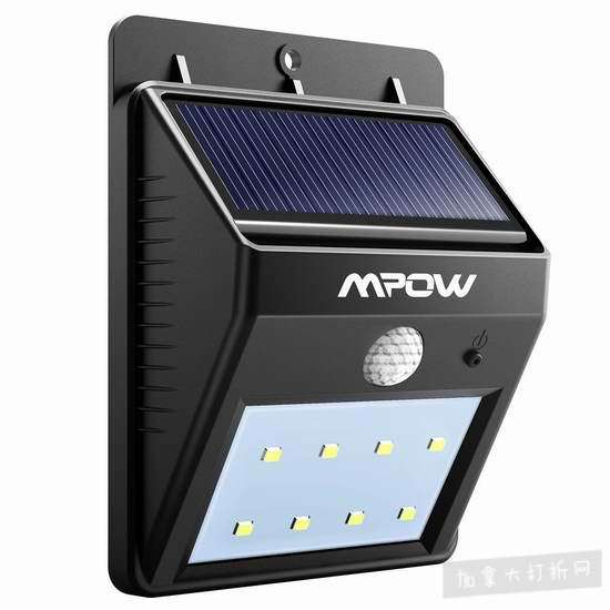 Mpow 8 LED超亮太阳能防水感应灯 7.99加元!