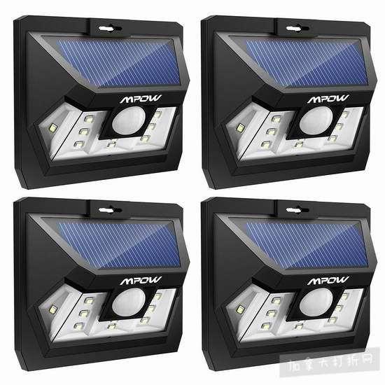 历史新低!Mpow 10 LED 太阳能运动感应灯4件套3.8折 30.99加元!