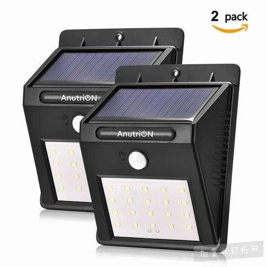 历史新低!AnutriON 20 LED 超亮太阳能感应灯2件套 16.99加元清仓!