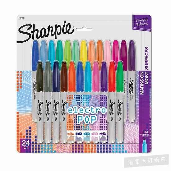 Sharpie 防褪色永久记号马克笔(24色)4.1折 14.87加元!