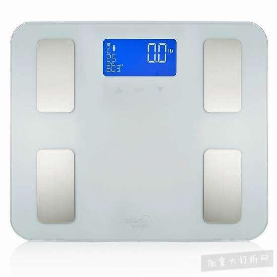 历史新低!Smart Weigh 高精度智能电子体重秤/体脂秤3.2折 15.99加元清仓!