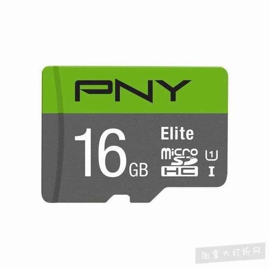 历史新低!PNY Elite UHS-I U1 microSDHC 16GB闪存卡4.2折 7.63加元!