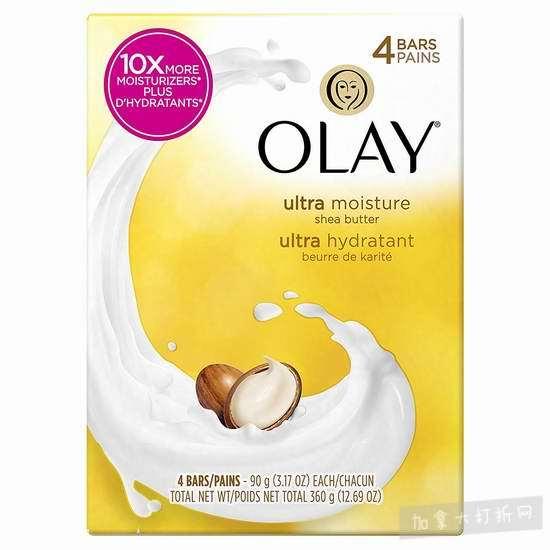 历史新低!Olay 玉兰油 Moisture Outlast Ultra 10倍滋润 乳木果 超保湿 美容皂(4x90克) 1.9-2元!