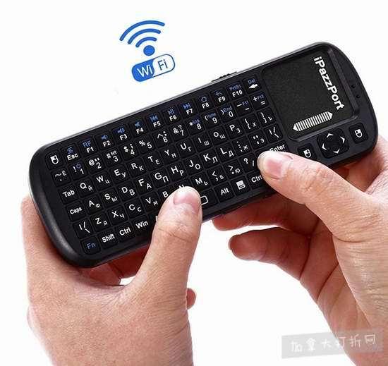 白菜价!历史新低!MYBDJ iPazzPort KP-810-19S  2.4GHz 带触摸板 无线多媒体迷你键盘 8.8加元清仓!