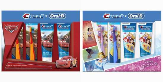 历史新低!Crest Oral-B 迪士尼 公主/赛车总动员 儿童牙刷+牙膏4件套超值装5折 5加元!