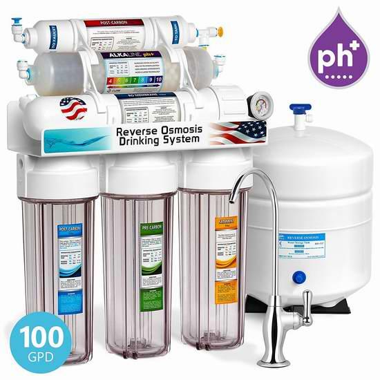 历史新低!Express Water ROALK10DCG 10级反渗透过滤+天然矿化+碱化 家庭饮用水过滤系统6折 224.94加元包邮!