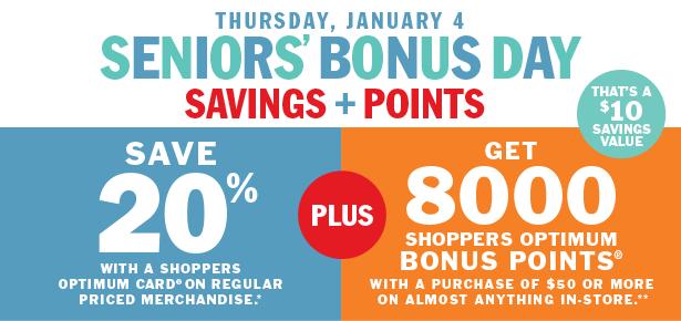 Shoppers Drug Mart 今日老人购物8折,满50加元再送价值10加元积分!
