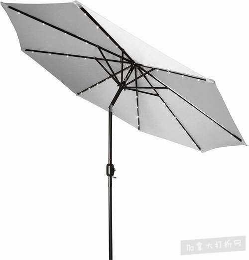 历史新低!Trademark Innovations 9英尺 可倾斜太阳能LED照明 庭院遮阳伞3.1折 43.36加元包邮!