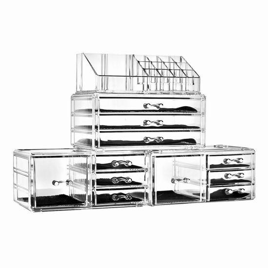 Unique Home 大容量透明化妆品首饰收纳盒4件套 36.99加元限量特卖并包邮!
