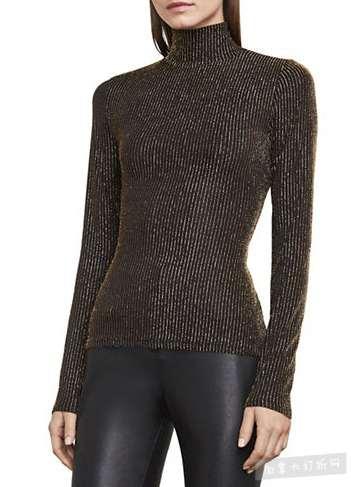 BCBG MAXAZRIA Brinne 金属感高领毛衣 49.99加元,原价 114加元