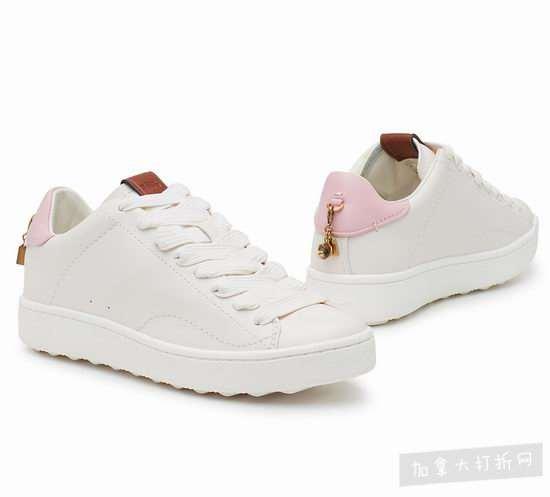 一见钟情款!Coach 粉尾厚底松糕小白鞋 245加元