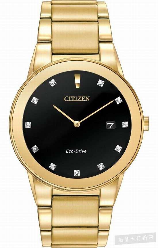 Citizen AU1062-56G Axiom系列 男士镀金光动能腕表 239.06加元,the bay同款价 425加元,包邮