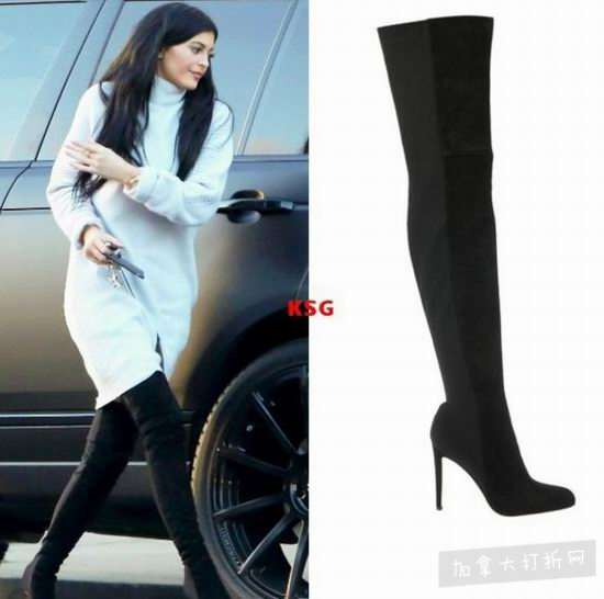 Kylie Jenner同款!GIANVITO ROSSI Rib-Knit过膝靴 1100加元(8码),原价 2750加元,包邮