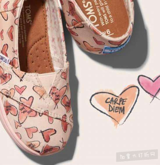 Toms 精选心形图案帆布亲子鞋 8折优惠,折后低至36加元起!
