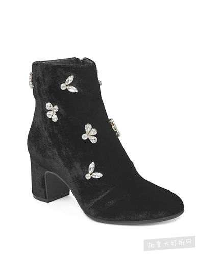 ANNE KLEIN 水晶缀饰天鹅绒短靴 70加元(6.5,7码),原价 200加元