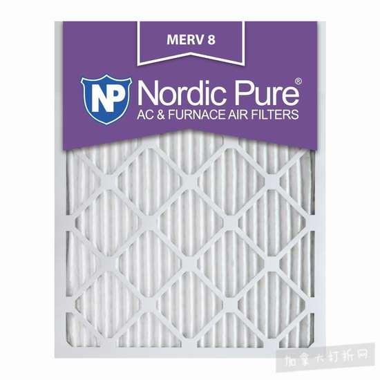销量冠军!Nordic Pure 16x25x1M8-12 MERV 8 防过敏空调暖气炉过滤网(16x25x1英寸 12件套)5.7折 85.48加元包邮!会员专享!