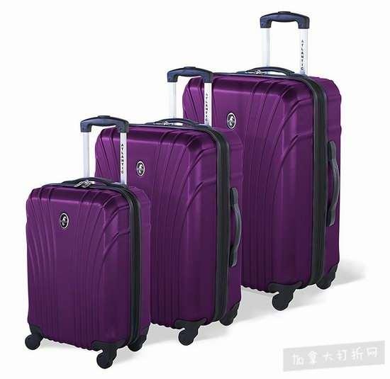 白菜价!历史新低!Atlantic AL43083010 Beaumont 时尚硬壳拉杆行李箱3件套 93.75加元清仓并包邮!全满分好评!会员专享!