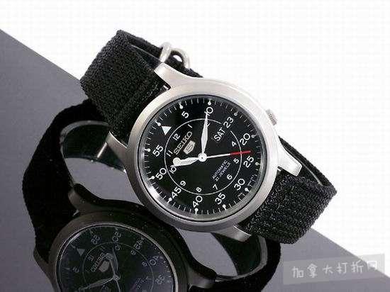 近史低价!Seiko 精工5号 SNK809 男士黑色 自动机械腕表/手表3.5折 64.88加元包邮!