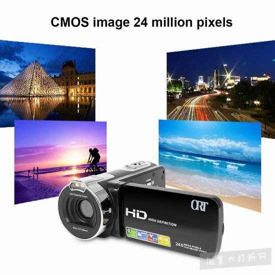 超级白菜!ODGear 24MP 1080P 便携式家用数码DV摄像机0.9折 8.4加元清仓!免税!送16GB SD卡!
