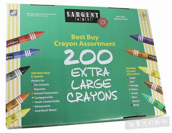 白菜价!历史新低!Sargent Art 55-3245 彩色蜡笔200支超值装1.6折 8.33加元清仓!