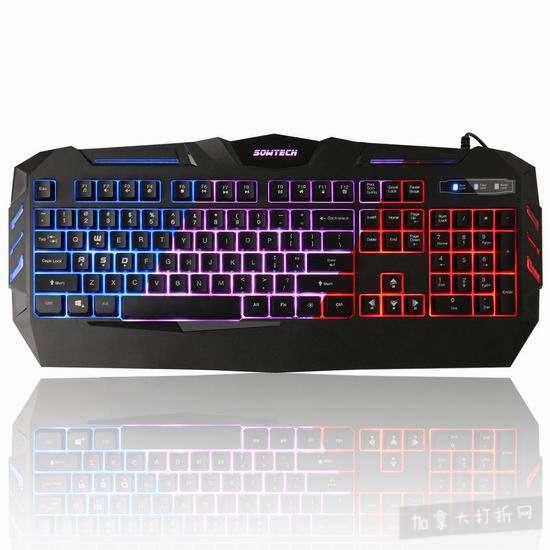历史新低!SOWTECH LED背光 可编程 104键 机械游戏键盘 20.07-20.71加元清仓!2款可选!