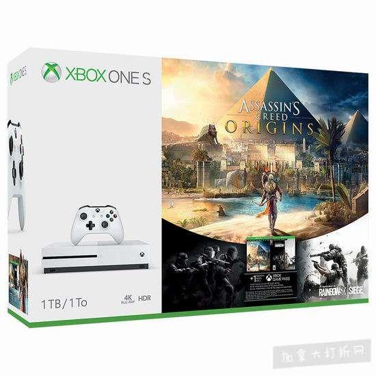 历史新低!Xbox One S 1TB 家庭娱乐游戏机+游戏套装 319.99加元包邮!3款可选!