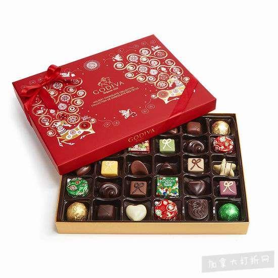 历史新低!Godiva 歌帝梵 新年限量版巧克力礼盒32颗装6.3折 44.71加元包邮!
