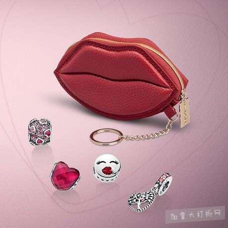 Pandora 潘多拉情人节大促,精选2款情人节套装首饰8折+送化妆包!任购两款串饰送唇形链包!