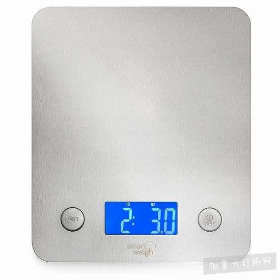 历史新低!Smart Weigh 高精度不锈钢厨房秤2.9折 13.03加元清仓!