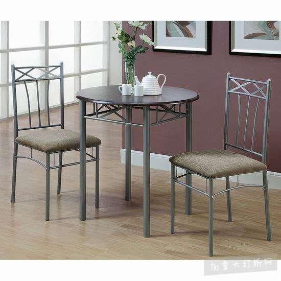 历史新低!Monarch Specialties I 3075 时尚餐桌椅3件套5.8折 153加元包邮!
