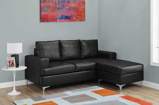 历史新低!Monarch Specialties I 8600BK 黑色复合皮组合沙发5.7折 625加元包邮!