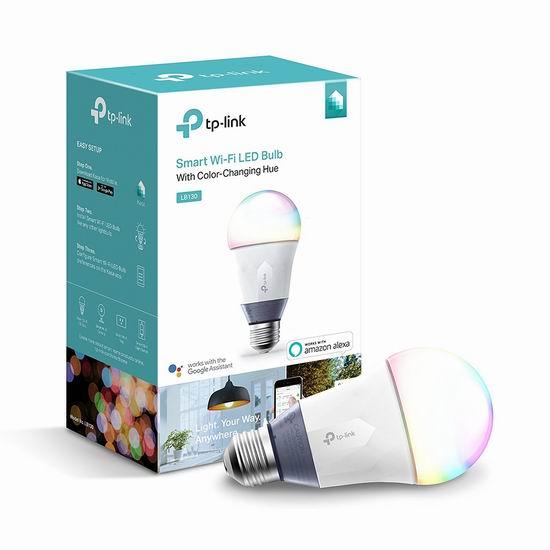 历史最低价!TP-Link LB130 Wi-Fi A19 LED 彩色智能灯泡6.2折 39.99加元包邮!