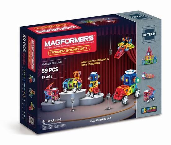 白菜价!Magformers Power Sound 声光结合 磁力积木59片装2.9折 60.2加元清仓并包邮!