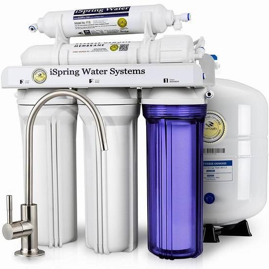 历史新低!iSpring RCC7 5级反渗透 家用水过滤系统 267.87加元包邮!