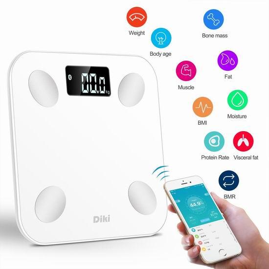 Diki 蓝牙智能 数字体脂/体重分析秤 34.84加元限量特卖并包邮!