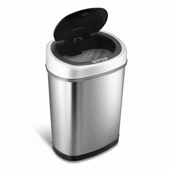 近史低价!NINESTARS DZT-42-9 42升 红外感应式 不锈钢垃圾桶5折 70.99加元包邮!