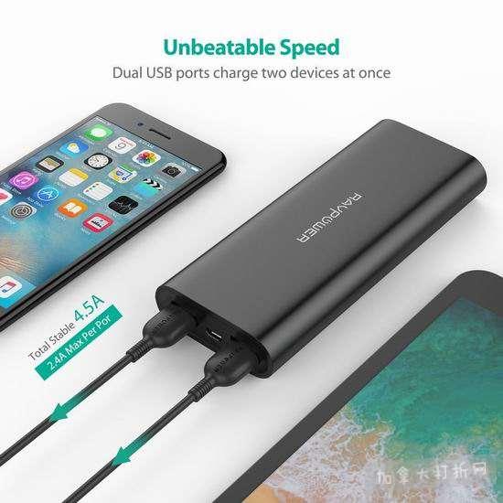 历史新低!升级版 RAVPower 睿能宝 16750mAh 便携式移动电源充电宝 26.99加元!