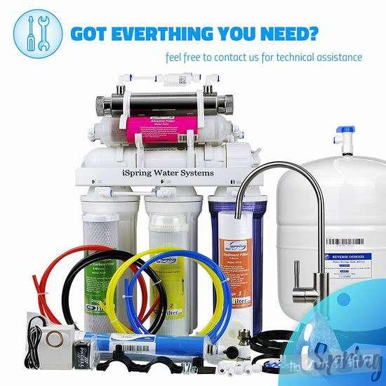 历史最低价!iSpring RCC7AK-UV 紫外线消毒 7级反渗透 家用水过滤/矿泉水系统 386加元包邮!