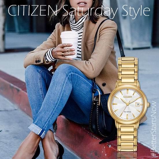 历史新低!Citizen 西铁城 EW2372-51A 女士时尚金色 光动能腕表/手表3.7折 121.09加元包邮!