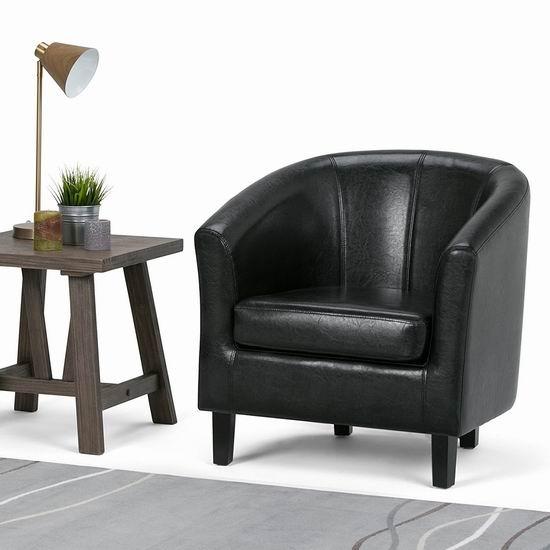Simpli Home AXCTUB-002 Austin 时尚黑色人造革 单人沙发3.5折 197.98加元包邮!